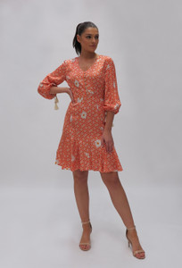 Fee G Orange Daisy Dress