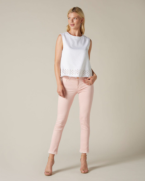 7 For All Mankind Pink Pyper Crop Unrolled Jeans