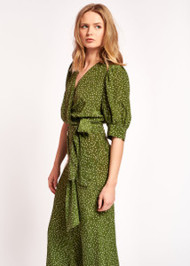 Essentiel Antwerp Green Polka Dot Wrap Top