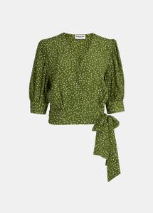 Essentiel Antwerp Green Polka Dot Wrap Top