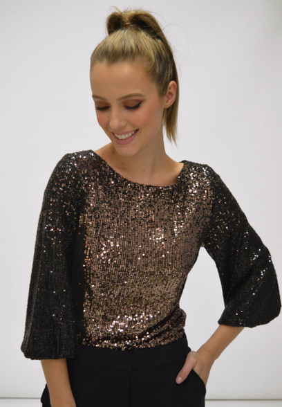 Fee G AW20 Gold Sequin Top