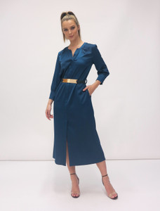 Fee G  Gold Belt Dress Teal