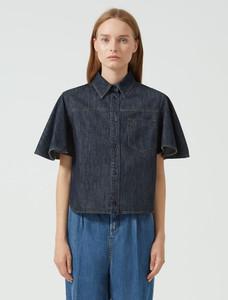 Sportmax Code Flounce Sleeve Denim Shirt
