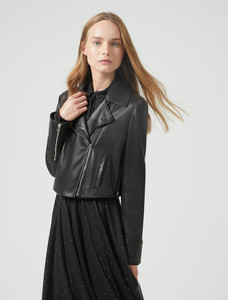Sportmax Code Cropped Nappa Leather Biker Jacket