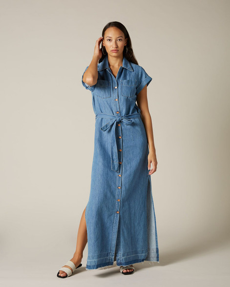 7 For All Mankind Maxi Dress Unrolled Tender Light Blue