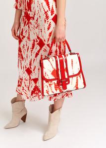Essentiel Antwerp red and white tie-dye bag