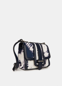 Essentiel Antwerp dark blue and white tie-dye print shoulder bag