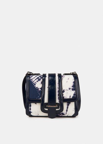 Essentiel Antwerp dark blue and white tie-dye print shoulder bag