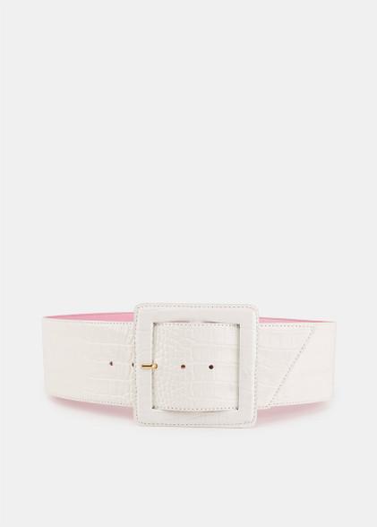 Essentiel Antwerp off-white croc-effect waist belt