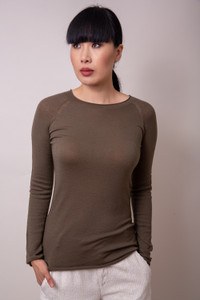 Transit Fitted Long Sleeve Top Olive Green