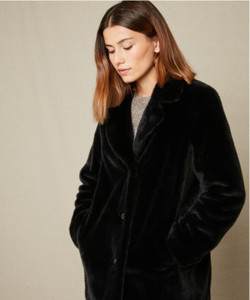 Hartford Fake Fur Vlap Coat | Anastasia Boutique BLK