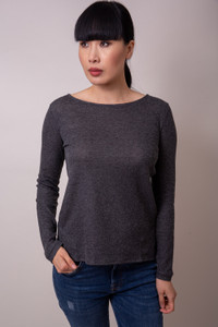 Majestic Filatures Boat Neck Top Anthracite