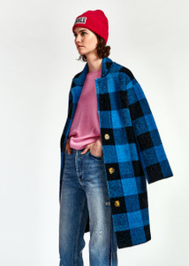 Essentiel Antwerp Wice Check Coat Black and Blue | Anastasia