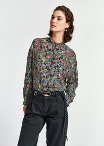 Essentiel Antwerp Frilled Collar Wabie Shirt Black