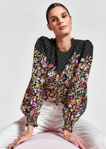 Essentiel Antwerp floral and polka-dot mixed-print top