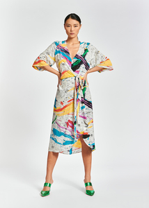 Essentiel Antwerp Abstract Print Midi Dress