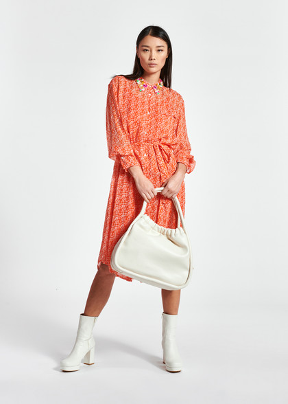 Essentiel Antwerp Sheer Orange Midi Dress