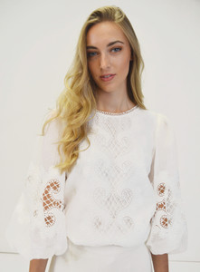 Fee G White Broderie Anglaise Top