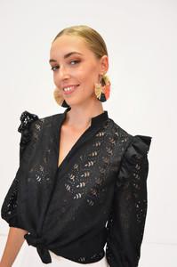 Fee G cut out black blouse