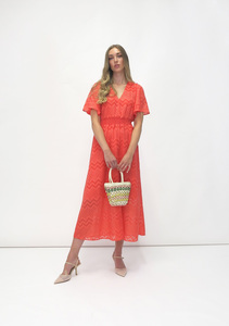 Fee G Chevron Midi Dress Coral