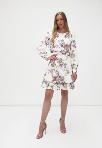 Fee G Long Sleeve Short Dress White Floral