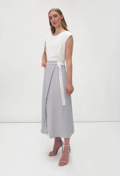 Fee G Two Tone Midi Dress White Grey