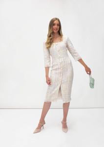 Fee G Woven Midi Dress White Multi
