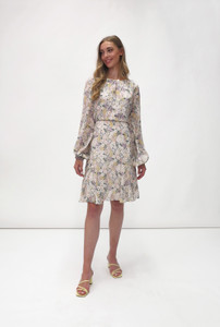 Fee G Long Sleeve Floral Print Dress