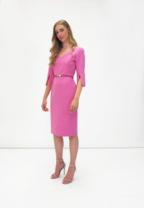 Fee G Tailored Midi Dress Pink with slits at the cuffs