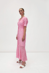 Fee G Embroidered Maxi Dress Pink