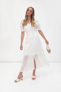Fee G Embroidered Maxi Dress White