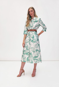Fee G Leaf Print Midi Shirt Dress
