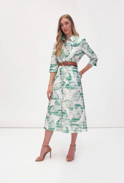 Fee G Leaf Print Midi Shirt Dress