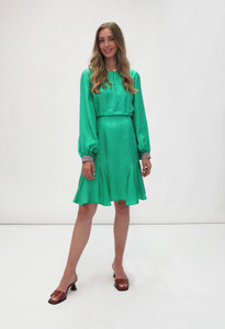 Fee G Long Sleeve Blouson Dress Green