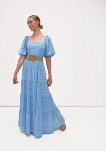 Fee G Tiered Maxi Dress Pale Blue