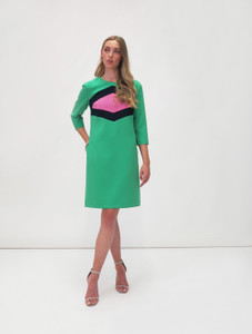 Fee G Geometric Contrast Dress Green