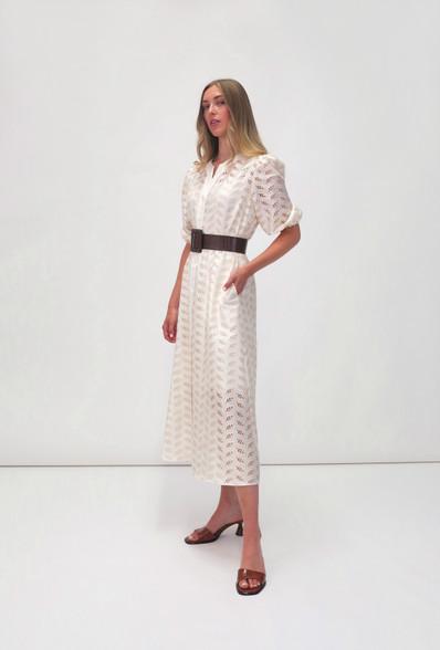 Fee G Midi Laser Cut Embellished Dress Cream