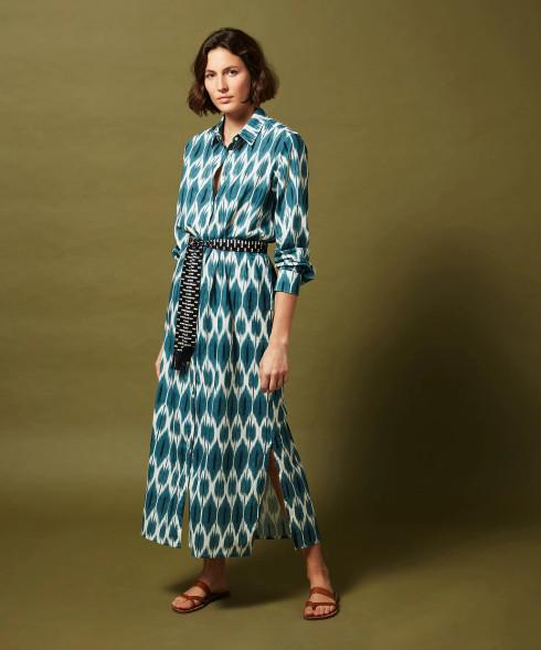 Hartford Blue Ikat Reaction Maxi Dress