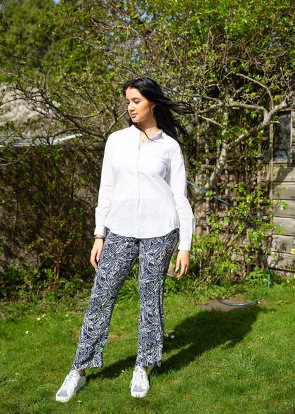 Hartford Rayon Pants Leaf Print