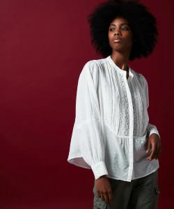 Hartford Celia Embroidered White Shirt