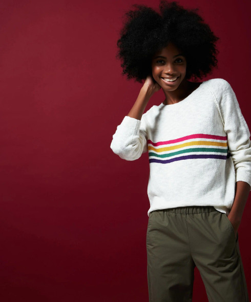 Hartford White Pullover With Rainbow Stripes