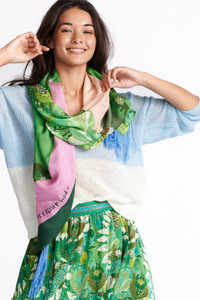 POM Amsterdam Lemon Square Patchwork Green Scarf