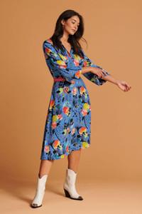 POM Amsterdam Blue Floral Print Midi Dress