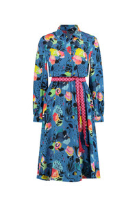 POM Amsterdam Blue Floral Print Midi Dress