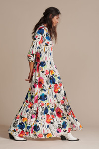 POM Amsterdam Delicious Mess Ecru Maxi Print Dress
