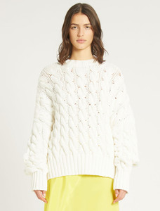 Sportmax Code White Cable Knit Sweater