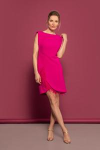 Caroline Kilkenny AW21 Pink Feather Detail Dress