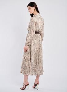 Pleated Snake Print Dress