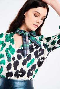 Fee G Animal Print Neck Tie Blouse
