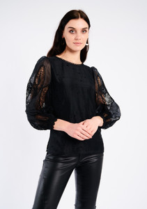 Fee G Black Broderie Anglaise Top